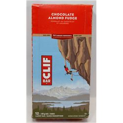 BOX OF 12 CLIF BARS. CHOCOLATE ALMOND FUDGE.