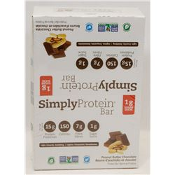 BOX OF SIMPLY PROTEIN BARS. PEANUT BUTTER FLAVOUR.