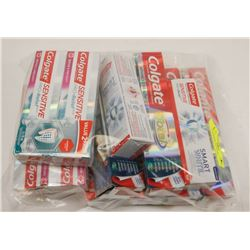 LARGE BAG OF ASSORTED TOOTHPASTES.