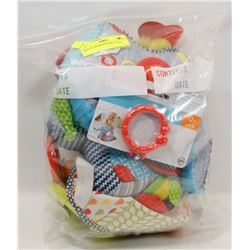 BAG OF ASSORTED BABY TOYS.