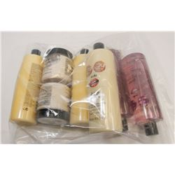 BAG OF ASSORTED BEAUTY PRODUCTS INCL BUBBLE BATH.