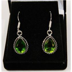 #75-GREEN PERIDOT GEMSTONE EARRINGS