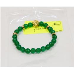 #69-GREEN EMERALD BEAD BRACELET