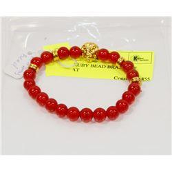 #68-RED RUBY BEAD BRACELET LION HEAT