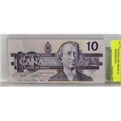 1986 CANADIAN BEF PREFIX 10 DOLLAR BANKNOTE.