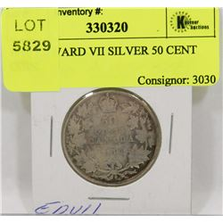 1910 EDWARD VII SILVER 50 CENT COIN.