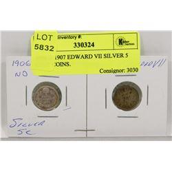 1906 & 1907 EDWARD VII SILVER 5 CENT COINS.