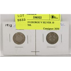 1913 & 1919 GEORGE V SILVER 10 CENT COINS.