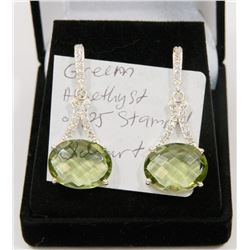 #116-GREEN AMETHYST GEMSTONE EARRINGS