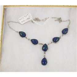 #119-RAINBOW CALSILICA GEMSTONE NECKLACE