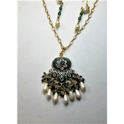 12)  GREEN ENAMEL, CLEAR CRYSTAL & PEARL