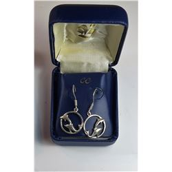 2)  STERLING SILVER DOLPHIN DROP