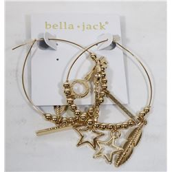 BELLA & JACK GOLD TONE HOOP EARRINGS