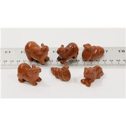 6 SUN STONE ASSORTED CRYSTAL CARVED ANIMALS.