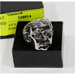 NEW HEAVY SILVER TONE DONALD TRUMP RING