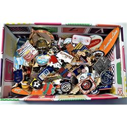 2)  BOX CONTAINING 138 LAPEL PINS