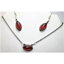 5)  SILVER TONE & NATURAL GARNET NECKLACE
