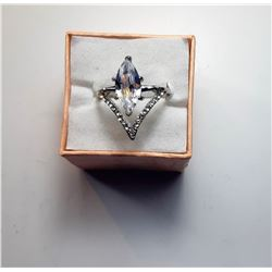 8)  SILVER TONE & CLEAR CRYSTAL RING
