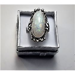 9)  SILVER TONE & WHITE FIRE OPAL RING