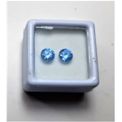 11)  LOT OF 2 MATCHED ROUND OCEAN BLUE