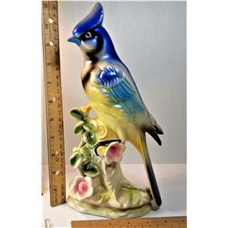 21)  VINTAGE ELBRO BLUE JAY CERAMIC ORNAMENT