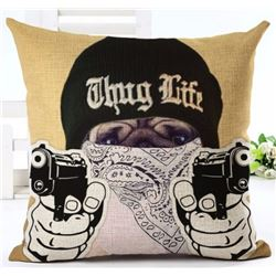 "NEW 18"" X 18"" PUG DOG THUG LIFE SOFT CANVAS"