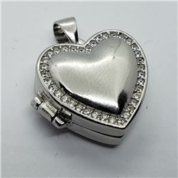 1) STERLING SILVER CUBIC ZIRCONIA LOCKET PENDANT