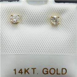 4) 14K YELLOW GOLD DIAMOND EARRINGS