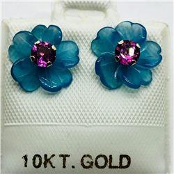 12) 10K GOLD GARNET CHALCEDONY 2-IN-1 EARRINGS