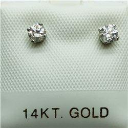 20) 14K WHITE GOLD DIAMOND EARRINGS