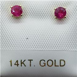 26) 14K YELLOW GOLD BURMESE RUBY EARRINGS