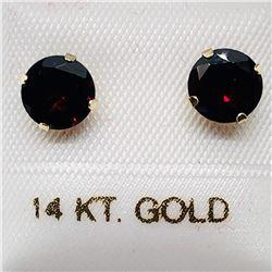 33) 14K YELLOW GOLD GARNET EARRINGS