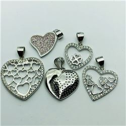 38) LOT OF 5 STERLING SILVER PENDANT