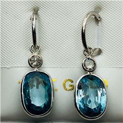 43) 14K WHITE GOLD BLUE TOPAZ & DIAMOND EARRINGS