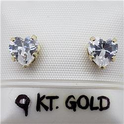 49) 9K YELLOW GOLD CUBIC ZIRCONIA EARRINGS