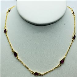 52) GOLD PLATED STERLING SILVER RUBY NECKLACE