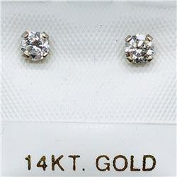 54) 14K WHITE GOLD DIAMOND EARRINGS