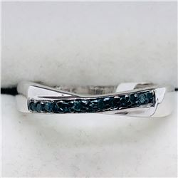 58) STERLING SILVER BLUE DIAMOND RING