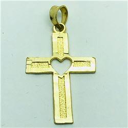 59) 10K YELLOW GOLD CROSS SHAPED PENDANT
