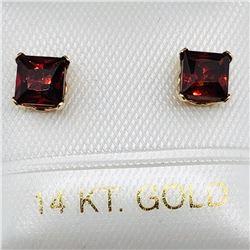60) 14K YELLOW GOLD GARNET EARRINGS