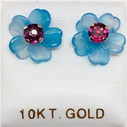 62) 10K YELLOW GOLD GARNET CHALCEDONY EARRINGS