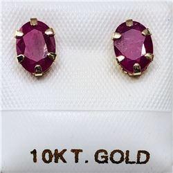 68) 10K YELLOW GOLD RUBY EARRINGS