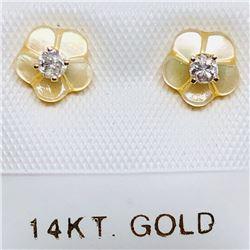 70) 14K DIAMOND W/ MOTHER OF PEARL EARRINGS