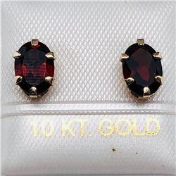 76) 10K YELLOW GOLD GARNET EARRINGS
