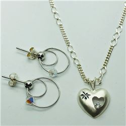 80) ST. SILVER EARRINGS & PENDANT NECKLACE SET