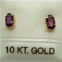 81) 10K YELLOW GOLD GARNET EARRINGS