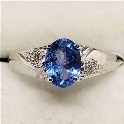 82) 10K WHITE GOLD TANZANITE & DIAMOND RING