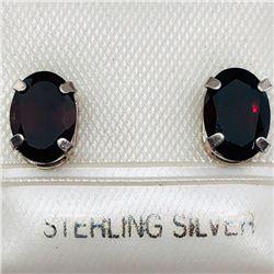 85) STERLING SILVER GARNET EARRINGS
