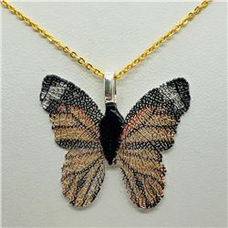 101) BUTTERFLY SHAPED NATURAL LEAF NECKLACE