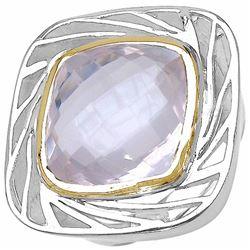 103) RHODIUM PLATED ROSE QUARTZ RING
